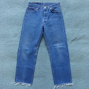 Very vintage frayed hem Levis 501 jeans